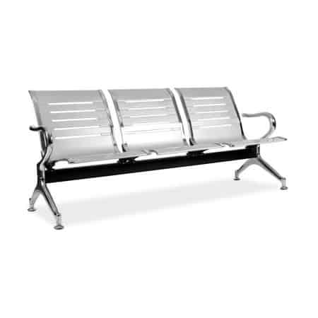Linear silver 3 seater public bench