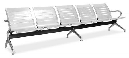 Linear silver 5 seater public bench